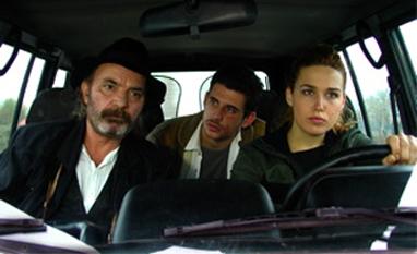 "Bujar Lako nel film ""Magic Eye"" di Kujtim Çashku con Arta Dobroshi e Alban Ukaj."