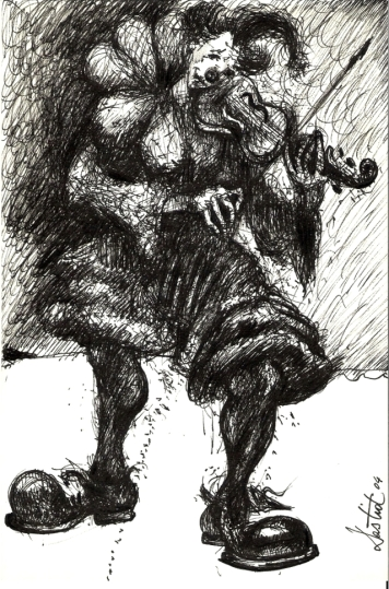 Clown 1 45cm x 35cm (framed) / China ink on paper / 2004