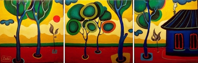 Landscape (Triptyque) 180cm x 60cm / Acrylic on canvas / 2009