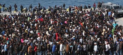Immigrati a Lampedusa.