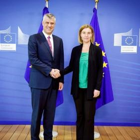 Il presidente Thaçi incontra l'Alto rappresentante dell'Unione europea per gli affari esteri e la politica di sicurezza, Federica Mogherini. Bruxelles 21 giugno 2016.