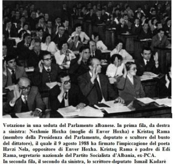 Tirana, votazione in una seduta del Parlamento albanese.
